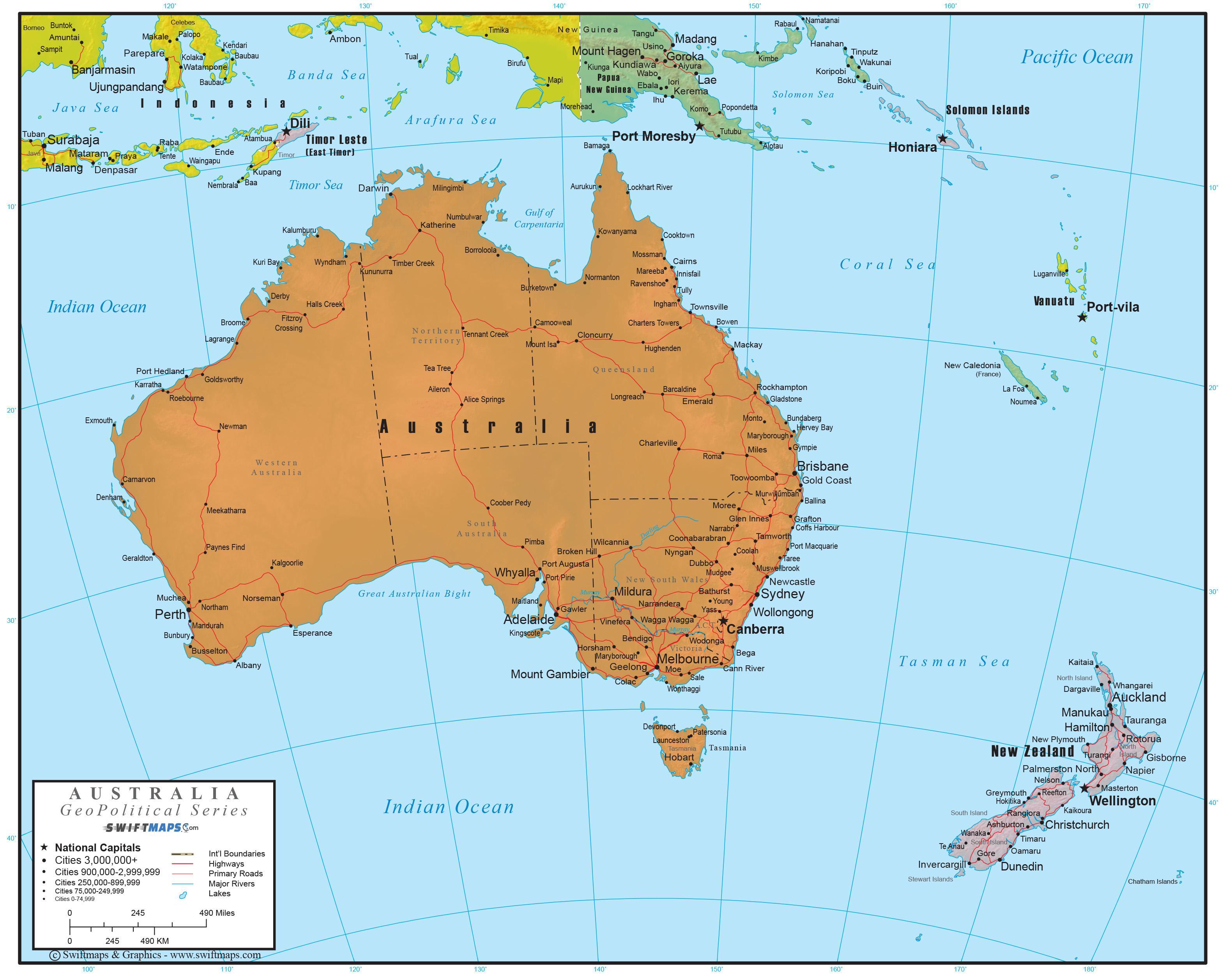 Australia Koko Kartta Full Map Of Australia Australia Ja Uusi