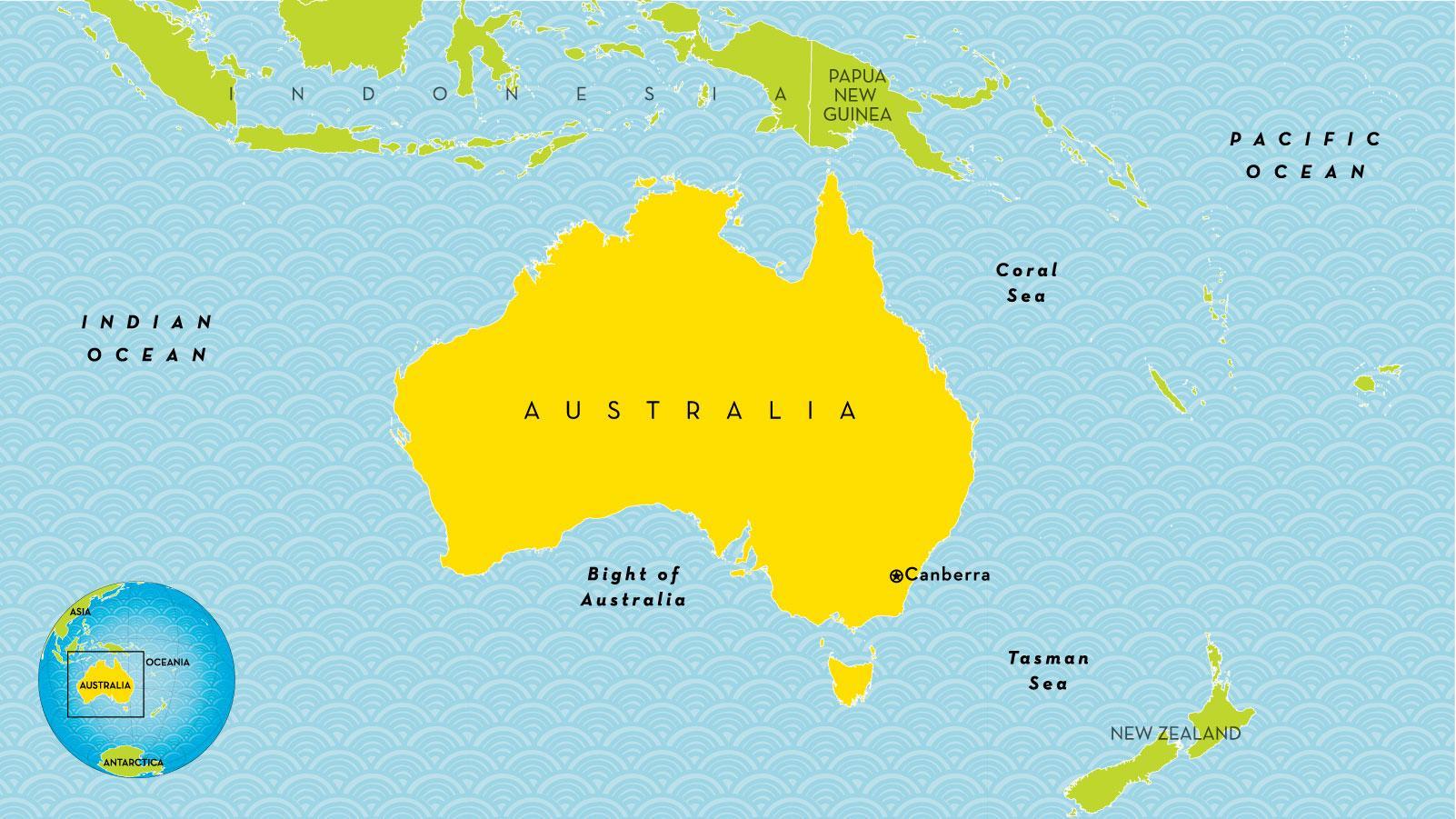 Australia Maa Kartta Maan Kartta Australia Australia Ja Uusi