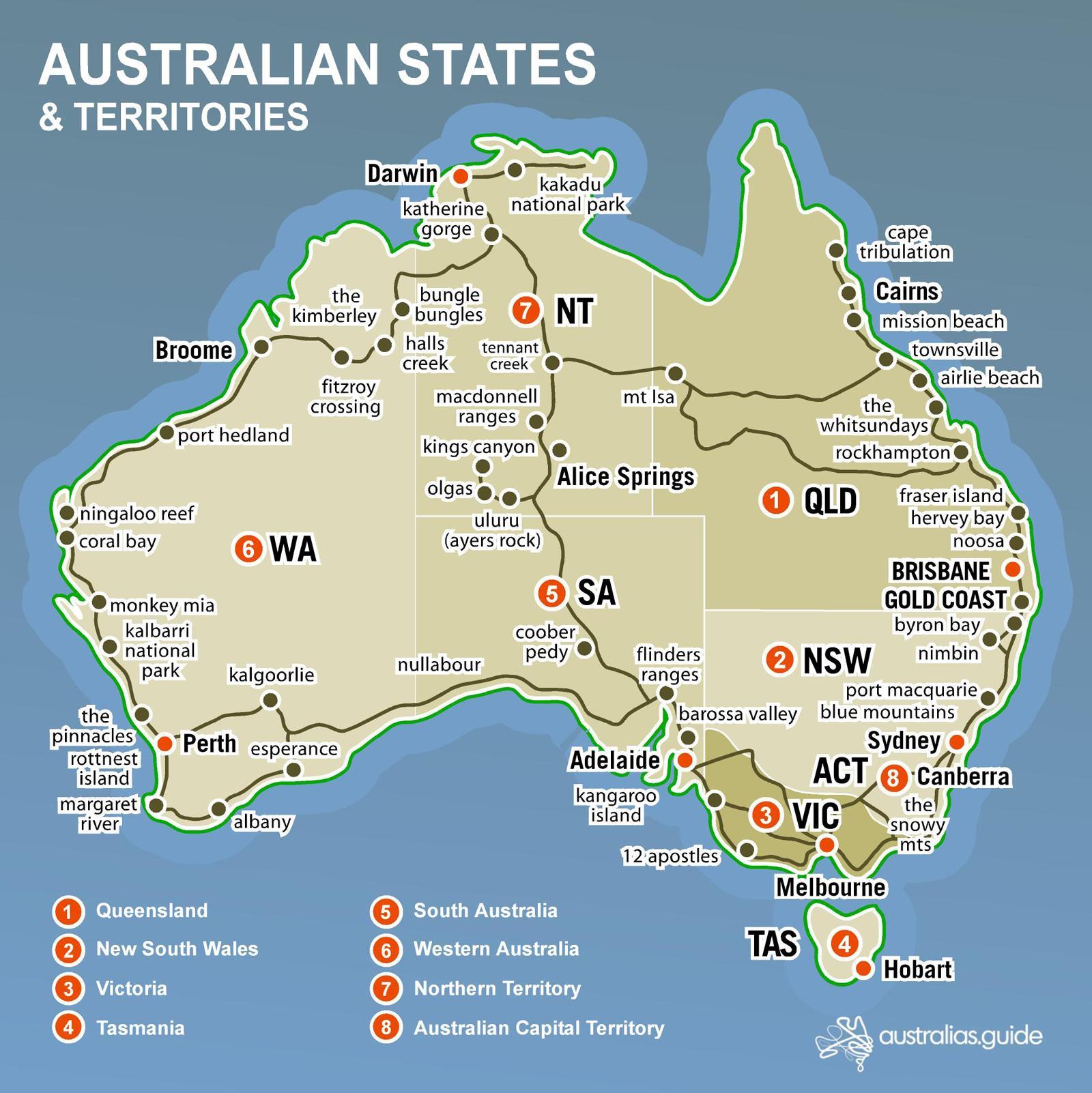 Australian Kartta Valtiot Kartta Australian Valtiot Australia