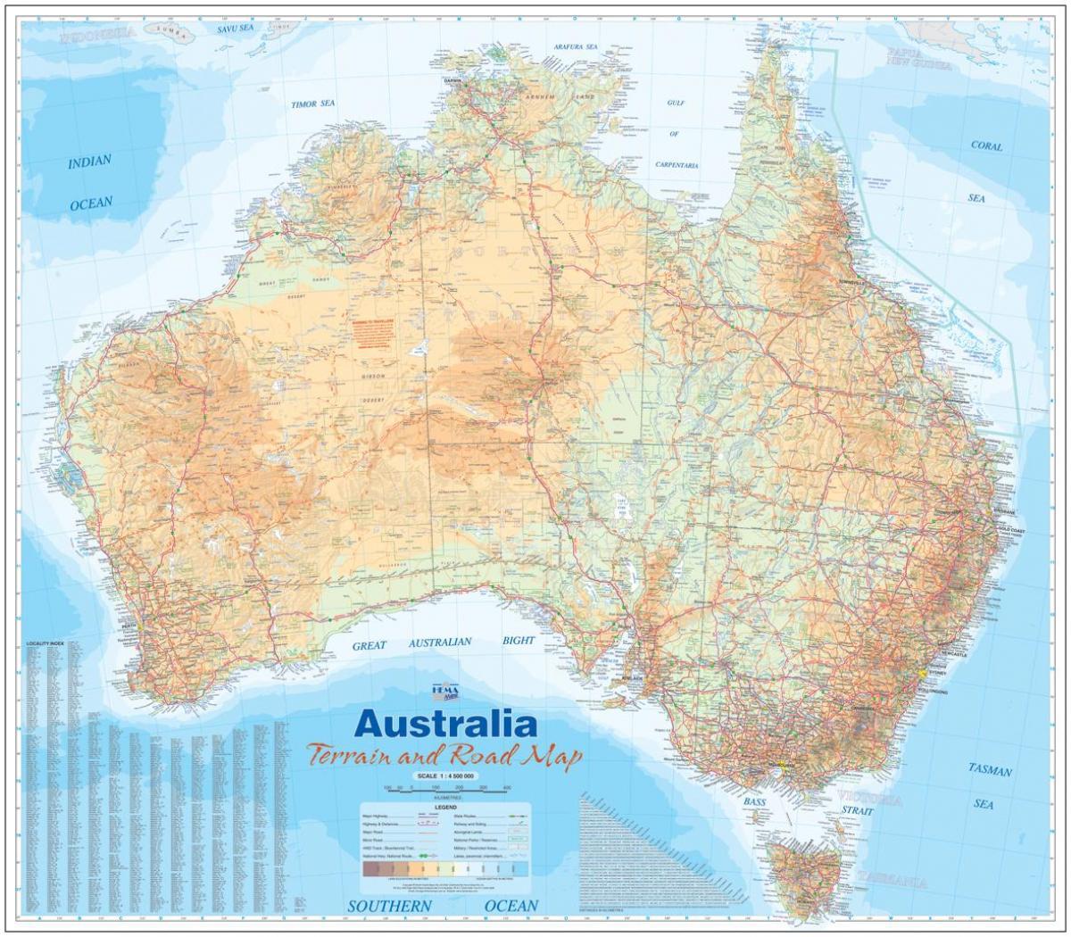 Australia Maastossa Kartta Maasto Kartta Australia Australia Ja